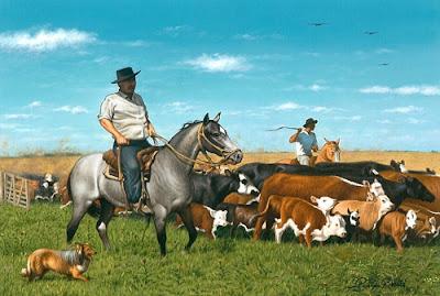 caballo gaucho vacas