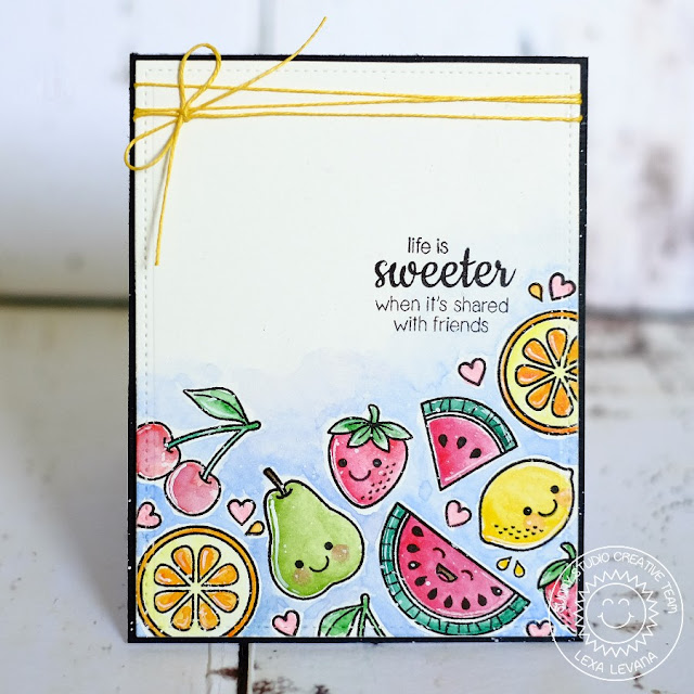 Sunny Studio Stamps: Fresh & Fruity Life Is Sweeter with Friends Fruit Card by Lexa Levana.