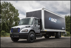 The Freightliner eM2 106 electric vehicle