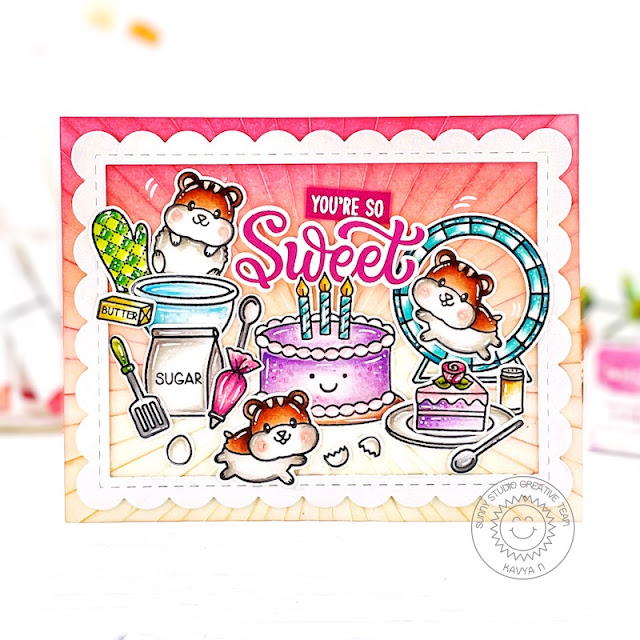 Sunny Studio Stamps: Happy Hamster Blissful Baking Make A Wish Critter Themed Birthday Card by Kavya