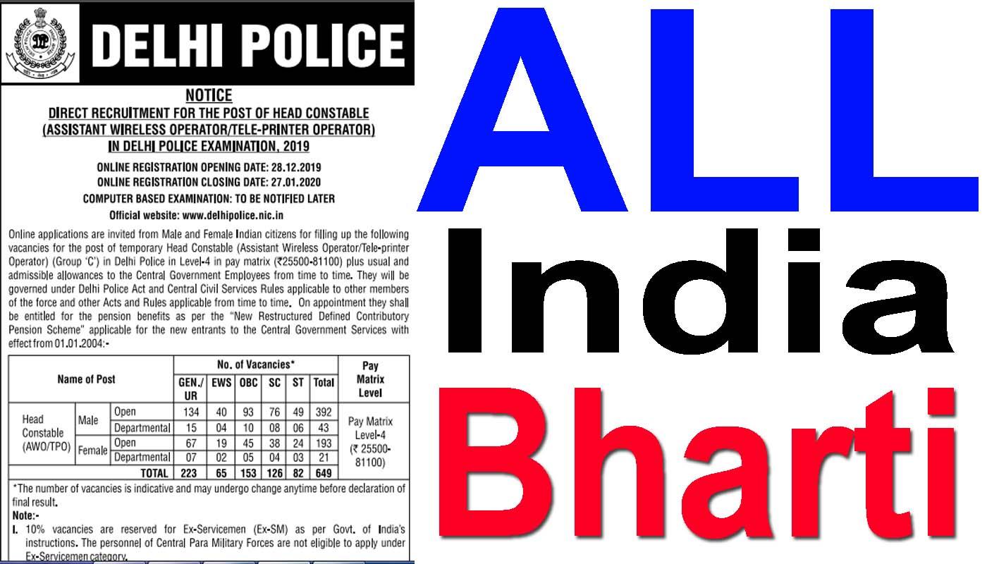 delhi police constable online form apply