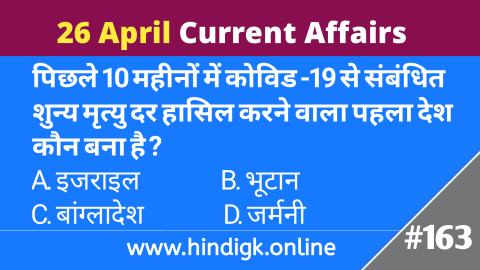 26 April 2021 Current Affairs In Hindi