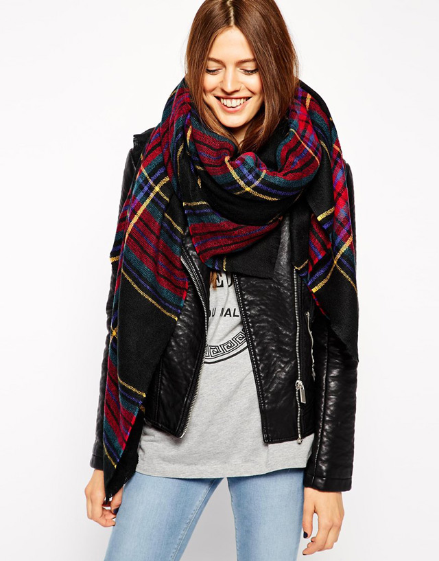 fall winter trendy styles - oversized check scarf