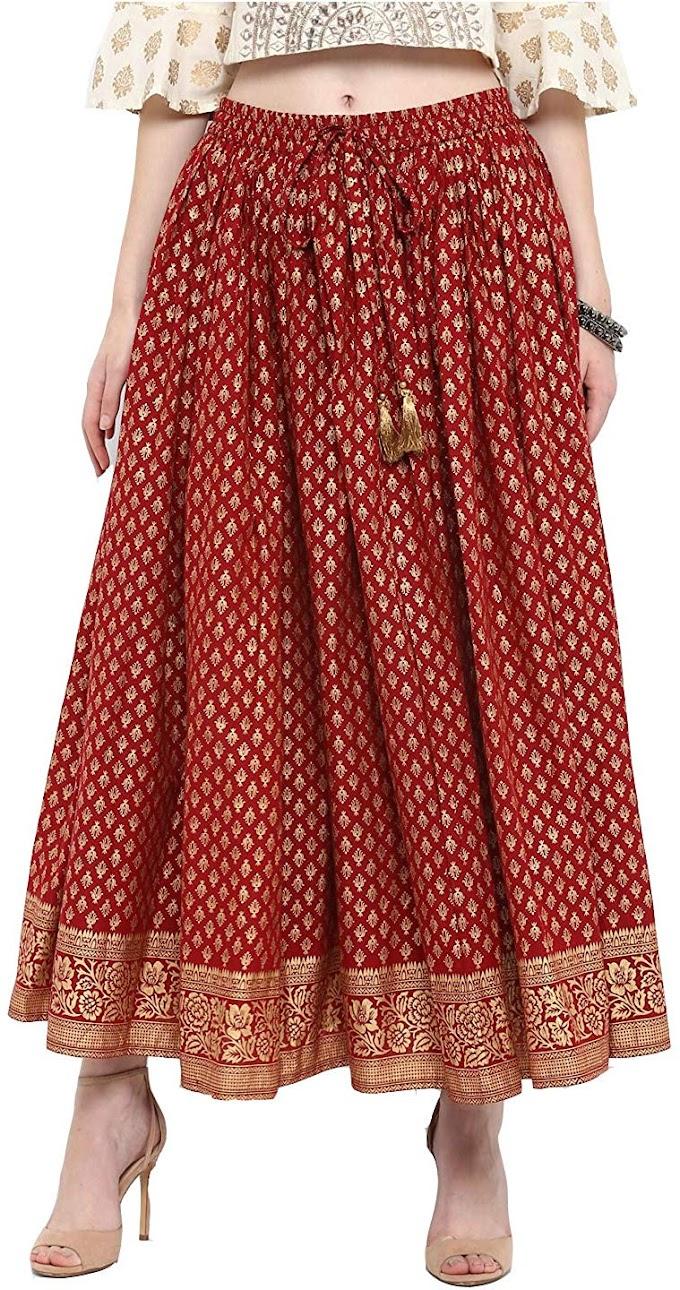 Varanga Red & god printed skirt KFF-VAR218649