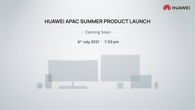 During the Huawei APAC Summer Product Launch on July  Huawei to launch FreeBuds 4, MateView, MateView GT, P50 series on July 6 in APAC region!