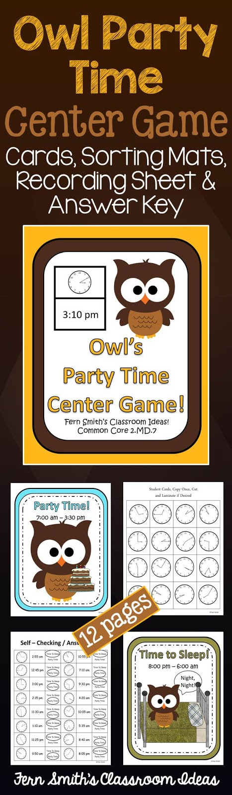 Fern Smith's Classroom Ideas Owl Party Time Center Game at TeachersPayTeachers