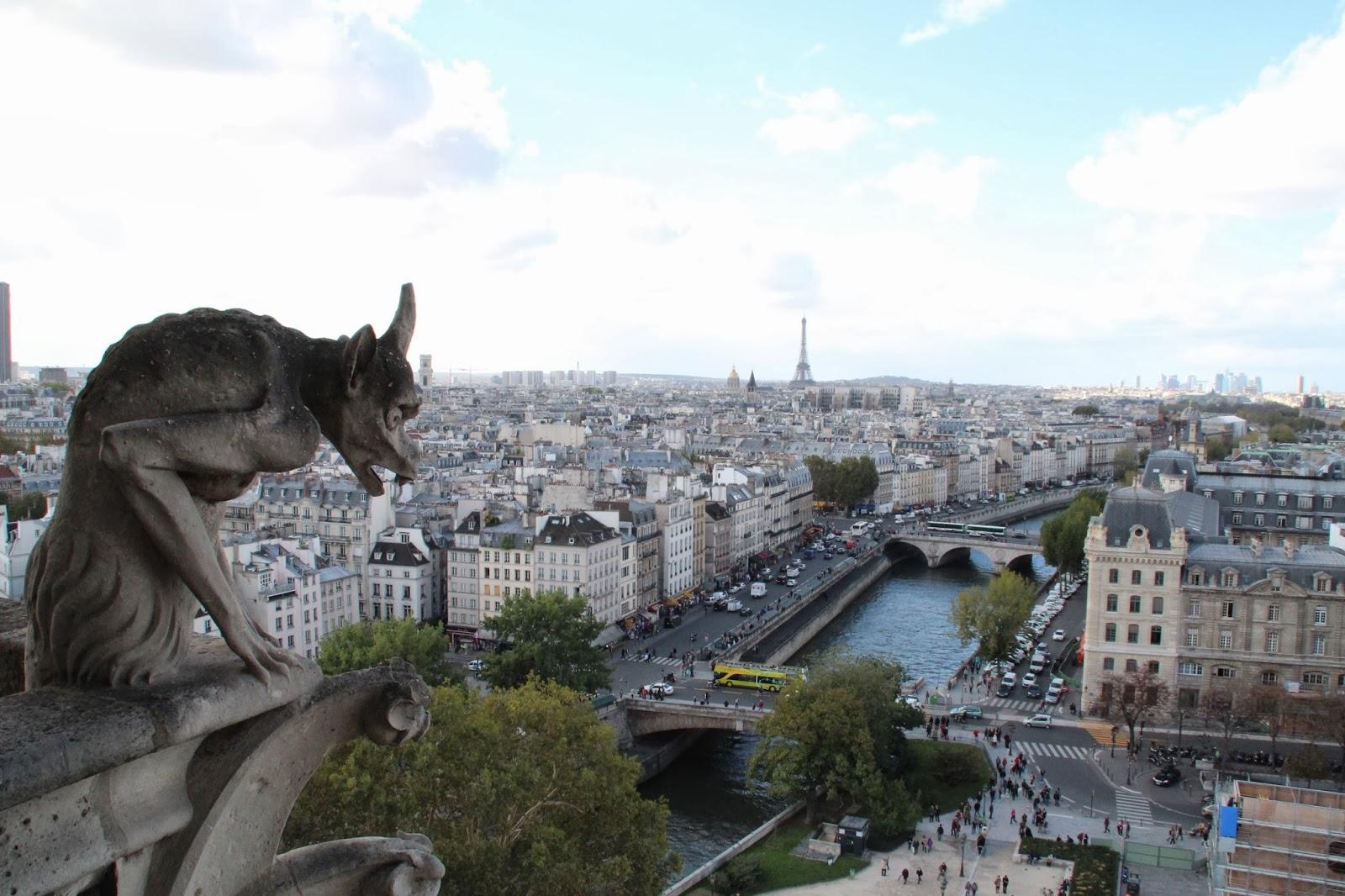 Vista sobre Paris desde las Gargolas de Notre Dame
