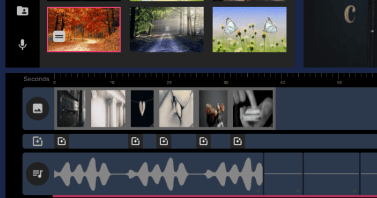 Layer images and full video tracks over audio voiceovers or background music for ultra-fast and efficient video building