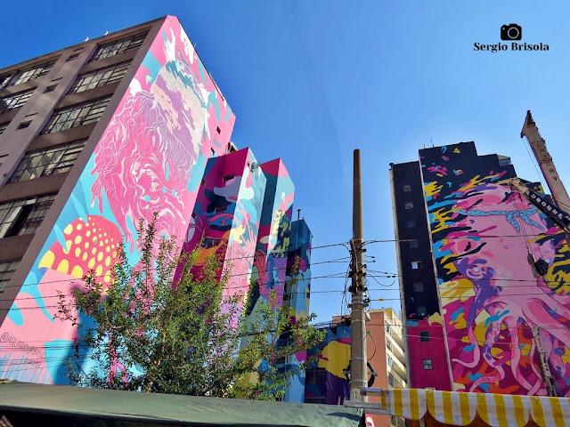 Vista ampla de parte da intervenção artística de grafite Aquário Urbano - República - São Paulo