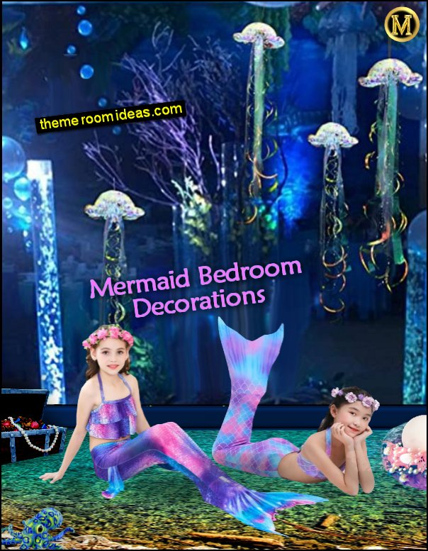 Mermaid  bedroo decorations Jelly Fish Hanging Decoration Glitter Iridescent Jellyfish Girl Swimsuit Little Mermaid Tails For Swimming