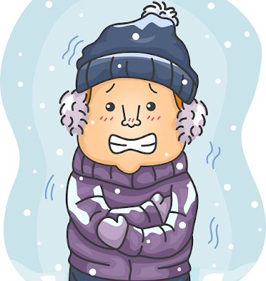 寒さでブルブル震えている