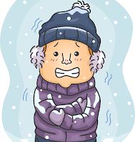 雪が降り、寒さに震えている男の子のイラスト