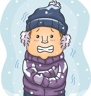 寒さに震えるお男の子のイラスト