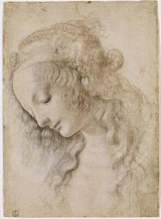 Leonardo drawing of woman's face