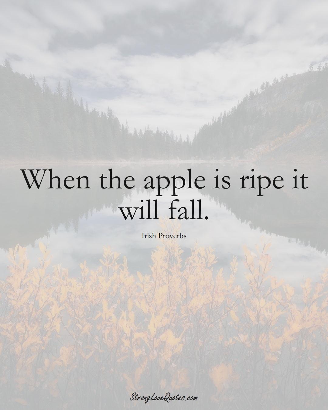 When the apple is ripe it will fall. (Irish Sayings);  #EuropeanSayings