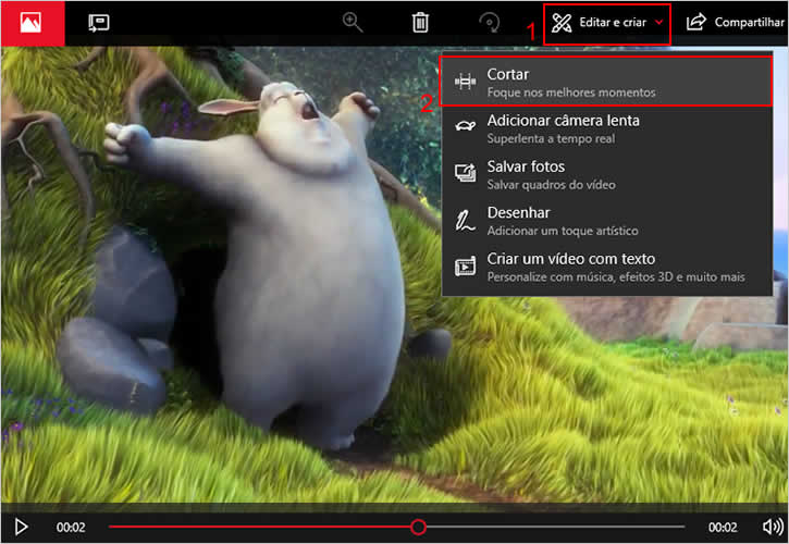 Selecionando a opção Cortar do aplicativo Fotos para editar vídeo