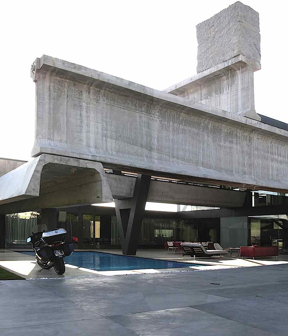 Brutalist architecture, a home with swimming pool