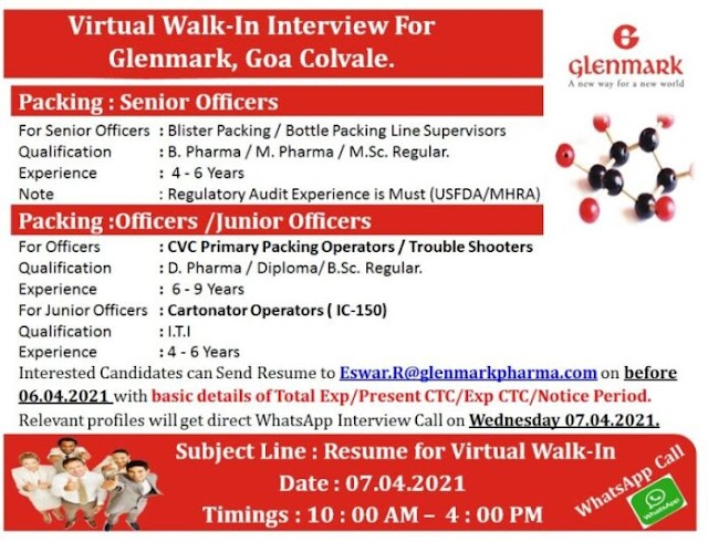 Glenmark Pharma | Virtual Walk-in interview for Packing on 7th April 2021