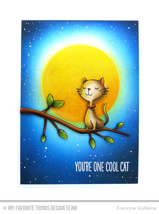 One Cool Cat Card by Francine Vuillème featuring the I'm Tweet on You and Birdie Brown Cool Cat stamp sets #mftstamps