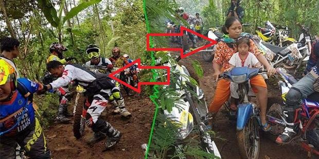 Luar Biasa!!!....Sambil Bonceng Anaknya Yang Masih Kecil, Ibu Ini Mampu Lewati Crosser yang Kesulitan Lewati Jalan di Hutan