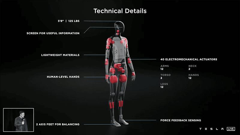 Technical details of Tesla Bot