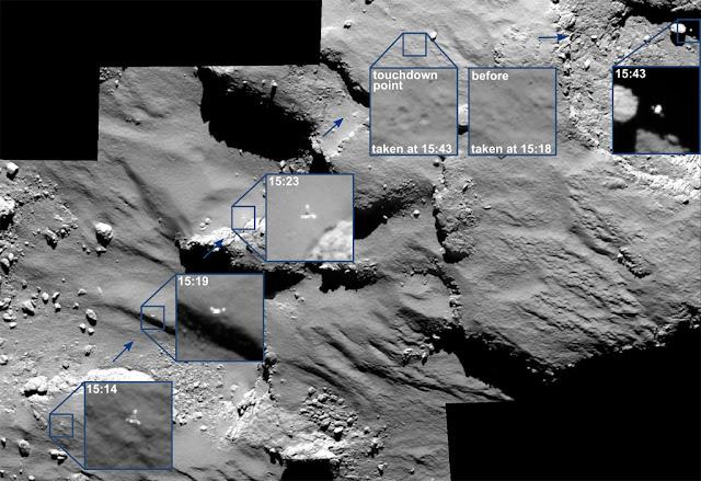 pouso da sonda Philae no cometa 67P
