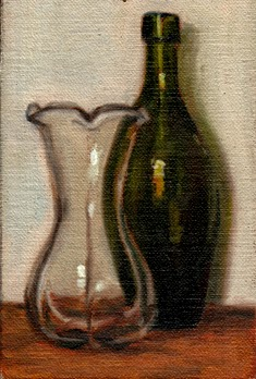 Oil painting of a tulip-shaped glass vase beside an antique flat-bottomed green torpedo bottle.