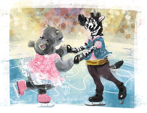 Hippo and Zebra figure skaters by Traci Van Wagoner