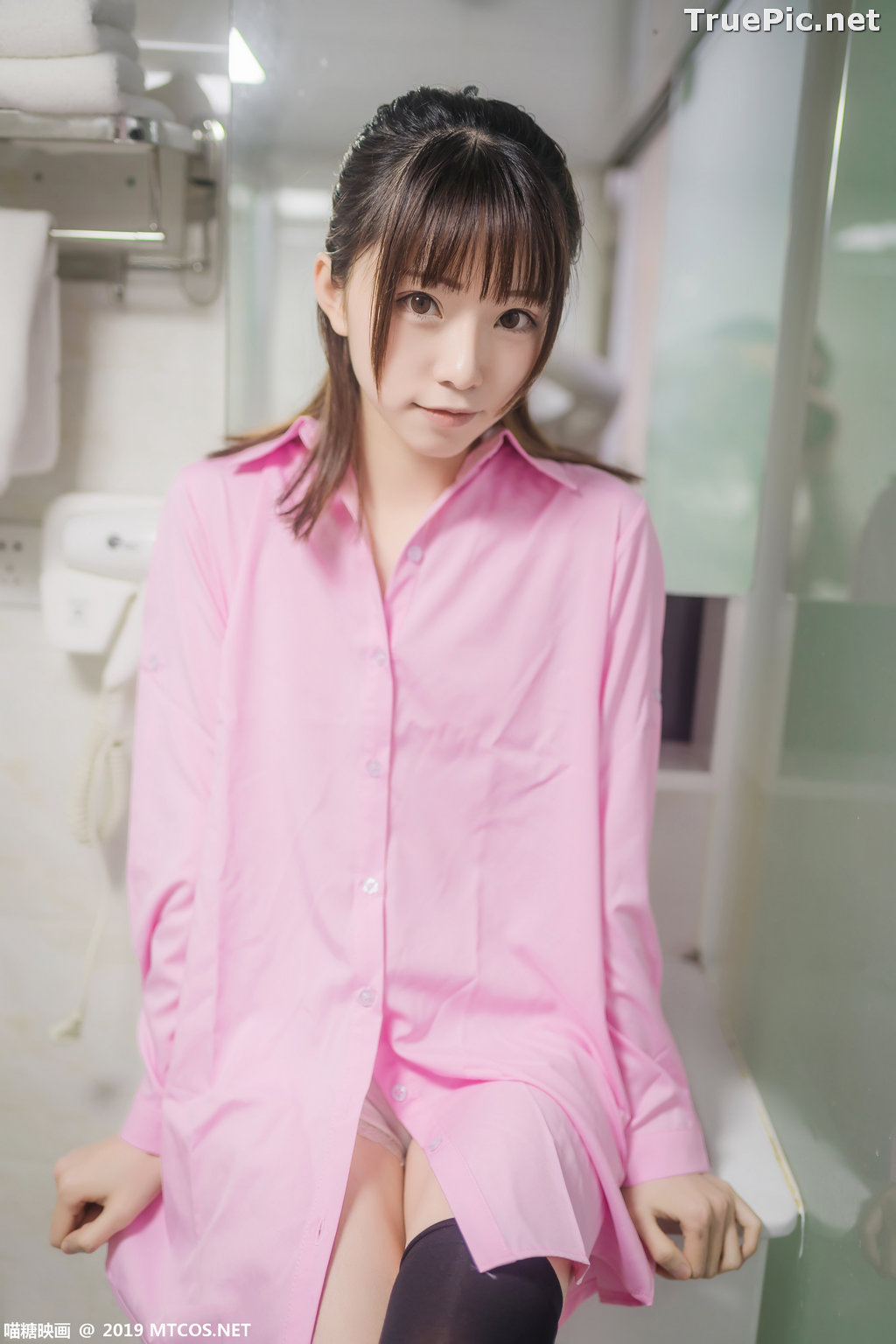 Image [MTCos] 喵糖映画 Vol.022 – Chinese Model – Pink Shirt and Black Stockings - TruePic.net - Picture-7