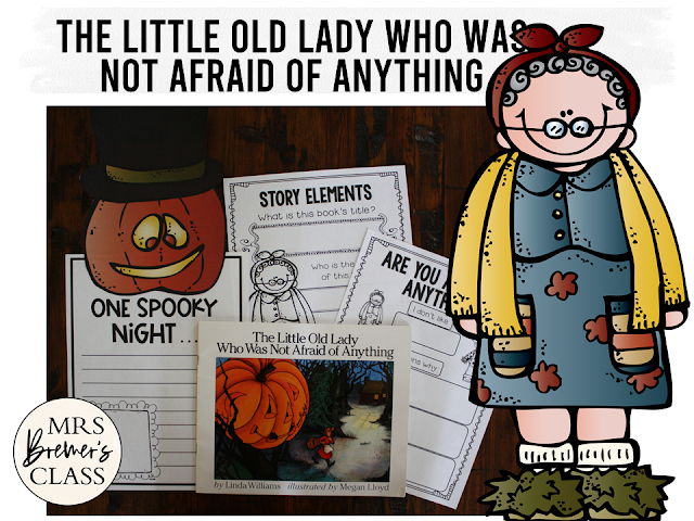 The Little Old Lady Who Was Not Afraid of Anything standards based book activities and craftivity to go with the Halloween book by Linda Williams. K-1