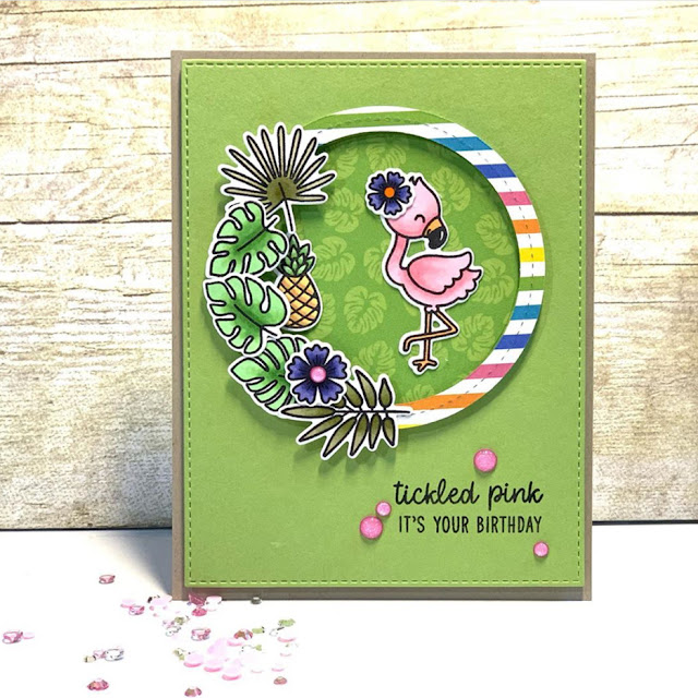 Sunny Studio Stamps: Fabulous Flamingos Customer Birthday Card by Leeann Leonard