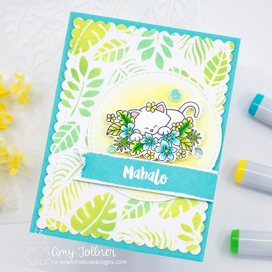 Aloha Newton Stamp and Die Set, Tropical Leaves Stencil, Frames and Flags Die Set, Circle Frames Die Set by Newton's Nook Designs #newtonsnook #handmade