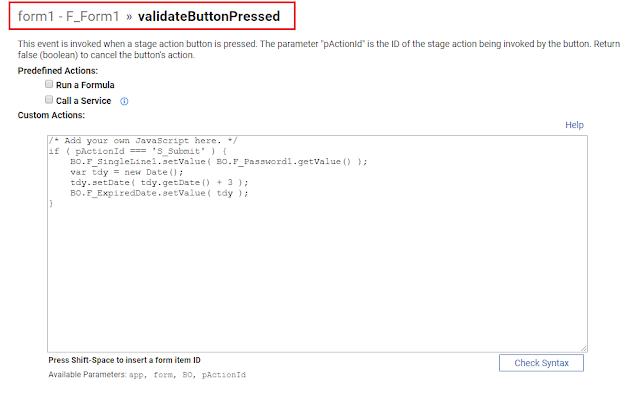 Events - validateButtonPressed