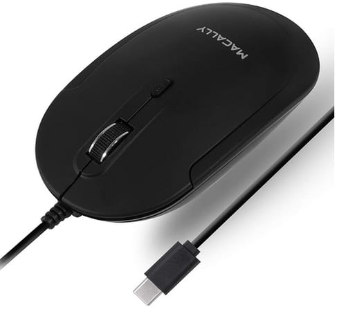 Macally Slim Wired USB C Mouse for Mac and PC