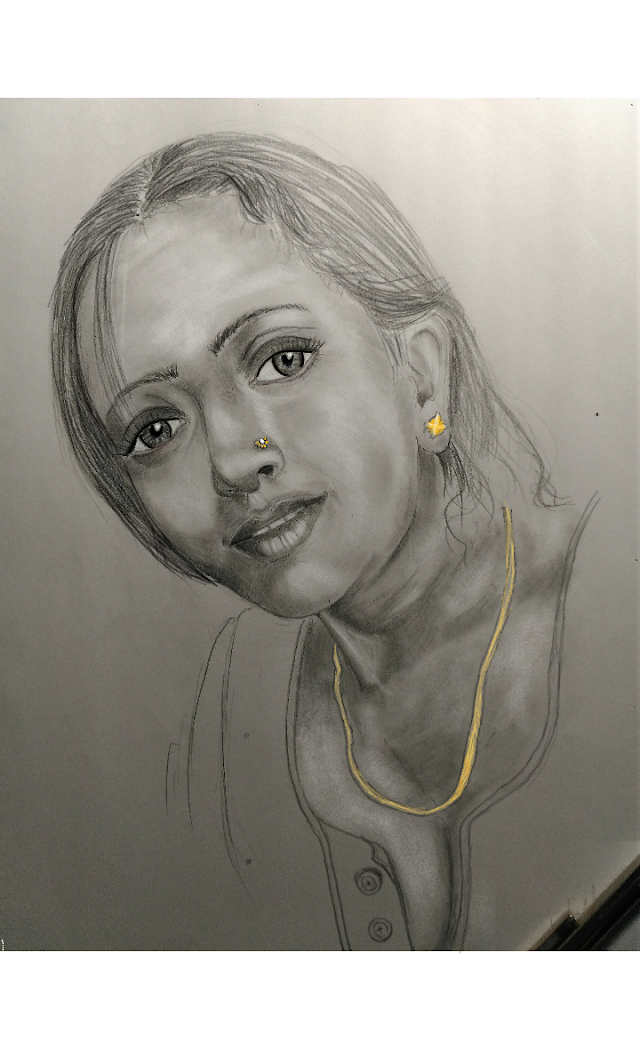 Pencil drawing a woman face