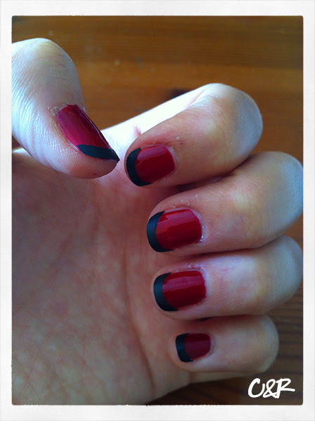 Nail art of the day, red&black