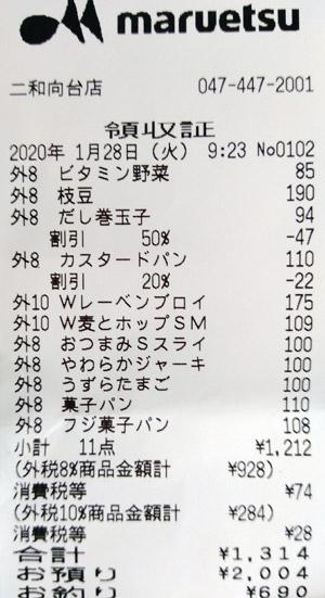 マルエツ 二和向台店 2020/1/28 のレシート
