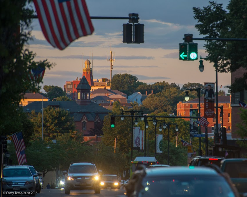 Portland, Maine September 2016. Photo by Corey Templeton. Late afternoon sunlight hitting the Portland Observatory in the distance. Spotted from the Monument Square neighborhood.
