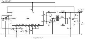 Pulse Width Modulated Push-Pull Converter Circuit Diagram