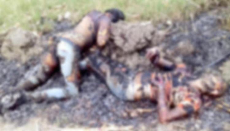 Localizan dos cuerpos baleados y calcinados de un hombre y una mujer en Los Otates, San Luis Potosí.