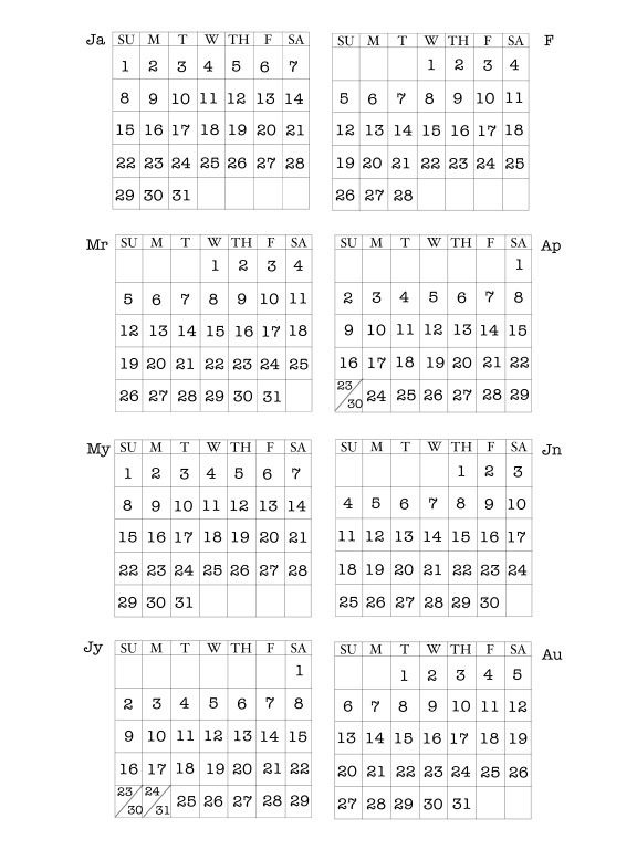 The calendar print outs come on two sheets the first is january through august you can find the free printable here dont try to print the jpg in this