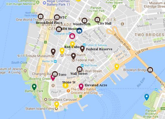 mapa con los lugares de interés en el Distrito Financiero NYC