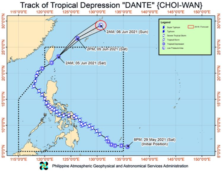 'Bagyong Dante' PAGASA track