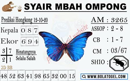 Syair Mbah Ompong HK Senin 12 Oktober 2020