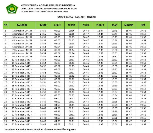 jadwal imsakiyah ramadhan buka puasa kabupaten aceh Tengah 2020 m 1441 h tomatalikuang.com