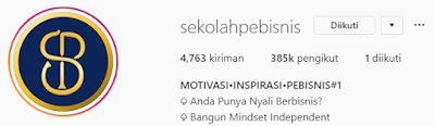 Akun Instagram bisnis dengan postingan aktif