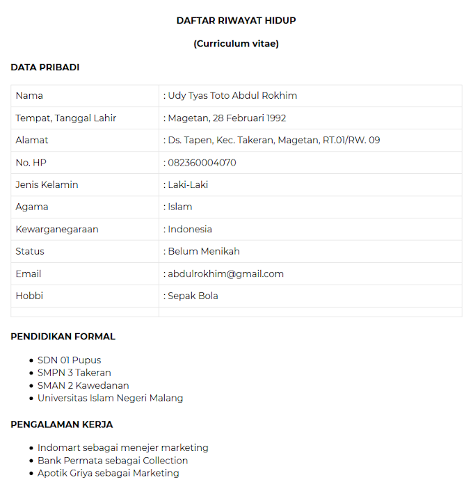 Contoh CV Lamaran Kerja Yang Gampang Di ACC