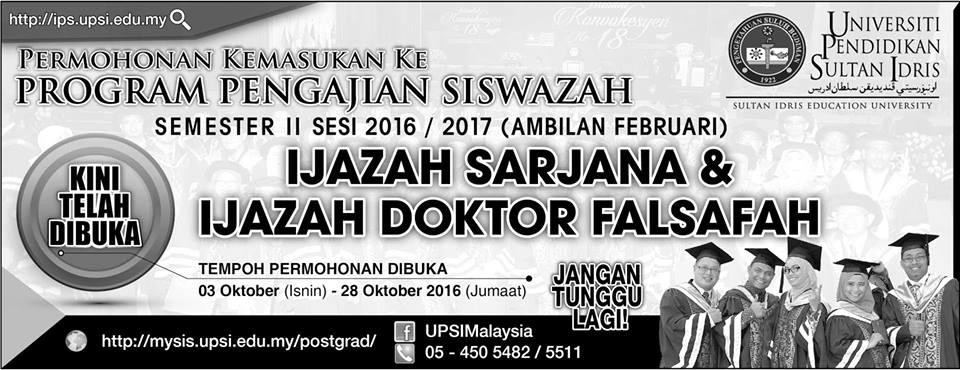 Permohonan UPSI Ijazah Sarjana doktor falsafah