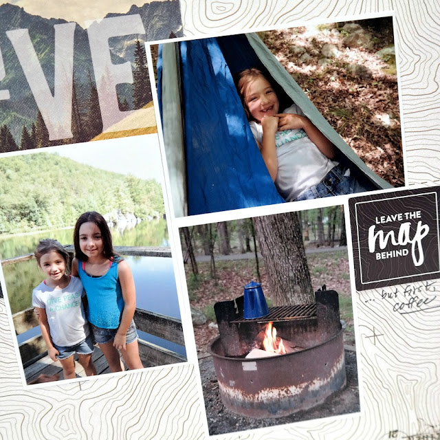 Camping Photo Collage on Scrapbook Layout