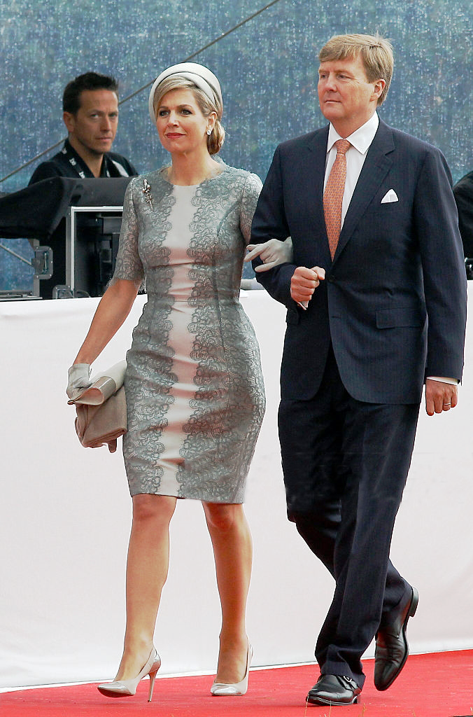 Dutch King Willem-Alexander and Queen Maxima of the Netherlands arrive for the Belgian federal government ceremony to commemorate the bicentenary of the Battle of Waterloo on June 18, 2015 in Waterloo, Belgium.